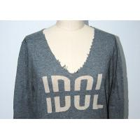 Quality Women Long Sleeve Intarsia Knit Sweater , Deep V Cashmere Sweater Raw Edge Neck for sale