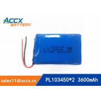 Wholesale 103450 3600mAh 3.7v lithium polymer battery pack with PCM protection 1S2P from china suppliers
