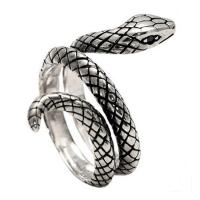 Wholesale Snake Style Simulated Garnet Eyes Scale Serpent Ring 925 Sterling Silver Band Ring(057738) from china suppliers
