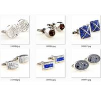 China Epoxy Gold Blue Diamonds Stainless Steel Cufflinks Army Gentle Cuff Link OEM Gift for sale