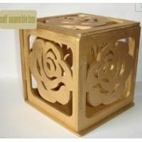 Wholesale self assembled wood box 105mm painted wood gift box with rose pattern from china suppliers
