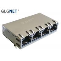 Wholesale 1X4 Ports Stacked Magnetic RJ45 Connector Tab Up POE LED 1000 Base T from china suppliers