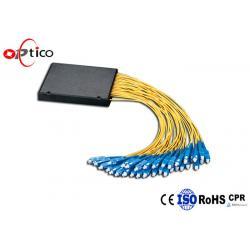 China G657A1 1x32 PLC Fiber Splitter ABS Module 2.0mm SC PC Optical Cord Splitter for sale