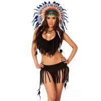 China Balck Spandex Rain Dance Sexy Native American Costume with Size S to XXL Available for sale