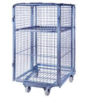 Quality Folding Supermarket Metal Wire Mesh Warehouse Storage Roll Cage for sale