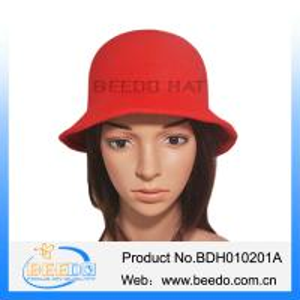 China Faux wool felt short brim red bowler cloche bucket hat on sale