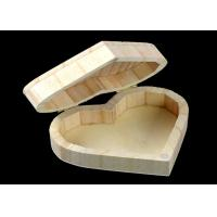 China Cover Top Heart Shaped Wooden Box , Wooden Crate Gift Box For Rings Wedding Gift for sale