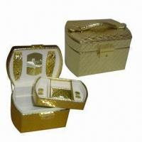 Wholesale Jewelry Boxes with Mirror, Two Leather Buttom Hooks and Lift-out Tray from china suppliers