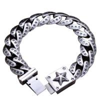 Wholesale Sterling Silver Heavy Chunky Cuban Curb Link Engraved Stars Mens Bracelet (058880) from china suppliers