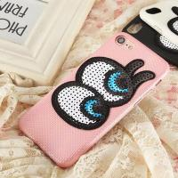 Soft Plaid PU Lovely Big Eyes Cell Phone Case Back Cover for iphone 7 7 plus 6s 6 plus for sale