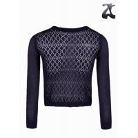 Wholesale Purple Crochet Knit Shrug Sweaters for Women Round Neck with Knitted Bow on Neck from china suppliers