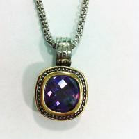 Wholesale (N-56)Two tone Gold Plated Amethyst Cubic Zircon Pendant Necklace woith Rhodium Plated from china suppliers