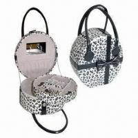 Wholesale Round Leather Jewelry Box in Leopard Texture Wrapped, Available in White and Black Colors from china suppliers