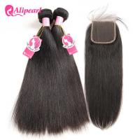 Wholesale Straight Brazilian Human Hair Bundles With Closure 4×4 Inches Free Part from china suppliers