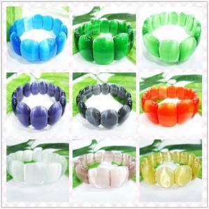 China Semi Precious Gem Jewelry, Multi-color Cat Eye Glass Beaded Bracelet, Opal Bead Bracelet on sale