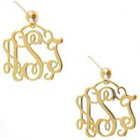 Wholesale Custom 925 Stylish Earrings , Fantastic Yellow Gold Alphabet Earrings from china suppliers