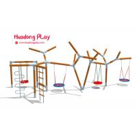 China Large Playground Equipment Swings , Rose Wood Garden Swing Set For Toddler on sale