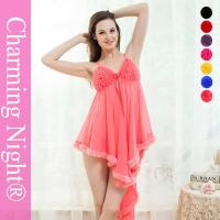 Wholesale Adult Women Fetish Sexy Night Dress With Fur Trim Front Ruffle Flower from china suppliers