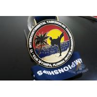 Buy cheap Taekwondo Round Custom Race Medals Sandblast Effect With Gold Plating from wholesalers