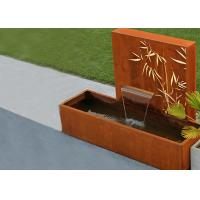 Wholesale Square Rust Corten Steel Water Feature With LED Lights Customized Sizes from china suppliers