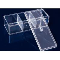 Quality 3 Compartments Acrylic Makeup Display Stand Clear Plastic Swab Box With Lid for sale