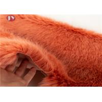 China Soft Bright Colors Silky Faux Fox Fur Fabric , Light Brown Faux Fur Fabric 35mm Pile on sale