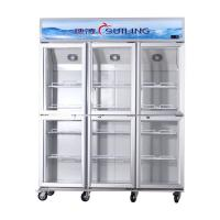 China High Efficiency Commercial 6 Glass Door Refrigerator Fan Cooling Dual Compressor on sale