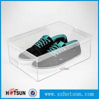 Quality Customized color and logo printed acrylic shoe box, Factory Custom Made Clear Storage Shoe Box for sale