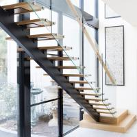 Wholesale Modern Design Straight Glass Staircase with Solid Oak Staircase from china suppliers