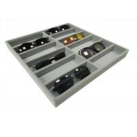 Wholesale Soft Velvet Gray 12  Grids Of Eyeglasses And Sunglasses Display Tray Case from china suppliers