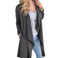 China Viscose Blends Womens Long Cardigans Solid High Low Long Sleeve Open Front Cardigan on sale