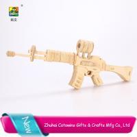 China Cotowins 3d wooden puzzle model mini cap kids toys guns for sale