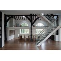 Wholesale steel mono glass staircase / wood steps glass railing stairs /L shape steel wood staircase from china suppliers