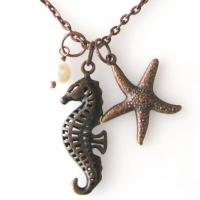Wholesale Ocean Style Animal Themed Jewelry Antique Hippocampus And Starfish Necklace from china suppliers