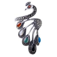 Wholesale Vintage Open Adjustable Thai 925 Silver Multicoloured Gemstone Marcasite Ring(059070) from china suppliers