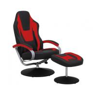 Wholesale Black & Red Vinyl Recliner Home Office Desk Chair With Ottoman / Adjustable Computer Chair from china suppliers