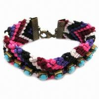 Wholesale Hand-knitted Nylon Bracelet with Cup Chain from china suppliers