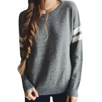 China Trendy Crew Neck Long Sleeve Sweater , Knit Strips Boyfriend Pullover Sweaters on sale
