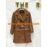 China Factory Supplier!!! wholesale lady long leather jackets for sale