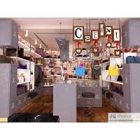 Wholesale Female bag shop in Fashion interior design by matte grey Display cabinet and glossy iron tube racks 3000K Led light from china suppliers