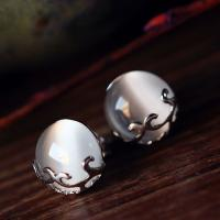 Wholesale Sterling Silver White Moon Stone Stud Earrings Vintage Thai Silver Jewelry (E11065) from china suppliers