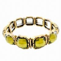 Wholesale Stretch Metal Bracelet with Resin Stones from china suppliers
