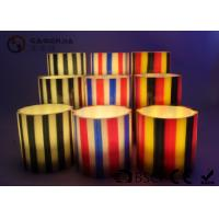 Wholesale Colorful Flameless Led Candles With Stripes Flat Top Candles ST0011 from china suppliers