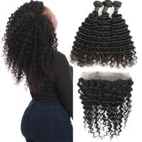 Wholesale Real Transparent 360 Lace Frontal Closure 3 Bundles Deep Wave No Tangle from china suppliers