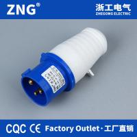 China 16a 230v 3 pin industrial plug ip44 weatherproof, IEC60309 power plug 16a 2p+pe with 1-2.5mm² cable dimension for sale