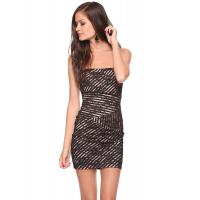 China Black Lace Overlay Ladies Tight Open Back Short Dresses For Party on sale