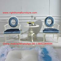 Wholesale Leisure fabric with white painting solid wood chair in Neoclassical design and cocktail end table from china suppliers