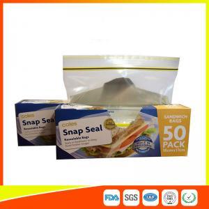 Ziplock Plastic Sandwich Bags With Writable Panel , Zipper Food Storage Bags 18 * 17cm