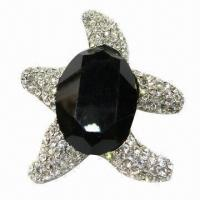 Wholesale Turtle-shape Metal Brooch with Large Stone from china suppliers