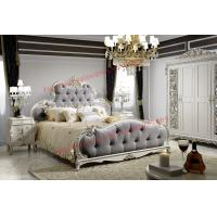 Wholesale Luxury Upholstery Fabric Headboard Padding with Solid Wood Bed in Ivory White Painting from china suppliers